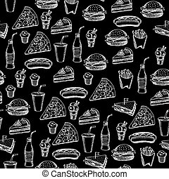 Seamless pattern background fast food.