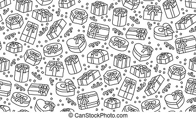 Seamless pattern background Gift box icon kids hand drawing set illustration black color isolated on white background, vector eps 10