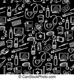 Seamless pattern background medical equipment.