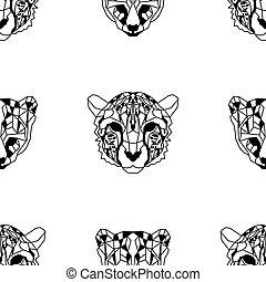 Seamless pattern background of low polygonal cheetahs