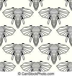 Seamless pattern background of low polygonal elephants