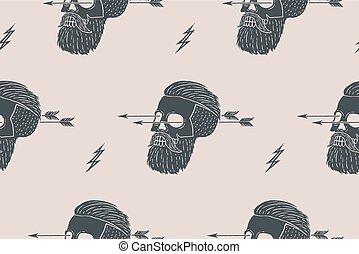 Seamless pattern background of vintage skull hipster with arrow