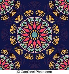 Seamless pattern background with boho style mandala