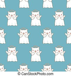 Seamless pattern background with cartoon cats pictured as a little angels with wings and halo in japanese kawaii style on blue background.