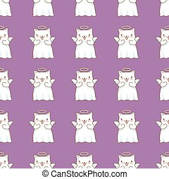 Seamless pattern background with cartoon cats pictured as a little angels with wings and halo in japanese kawaii style on purple background.