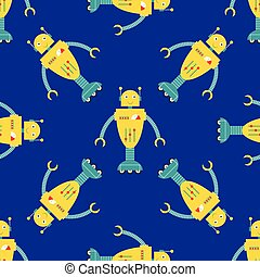 seamless pattern background with cartoon robots