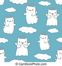 Seamless pattern background with clouds, cartoon cats pictured as a little angels with wings and halo in japanese kawaii style on blue background.
