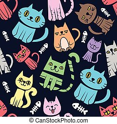 Seamless pattern background with colorful cats