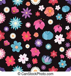 Seamless pattern background with colorful flowers