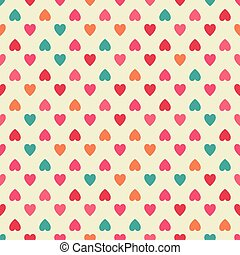 Seamless pattern background with colorful hearts.