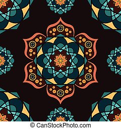 Seamless pattern background with colorful mandalas