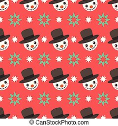 Seamless pattern background with cute snowman face