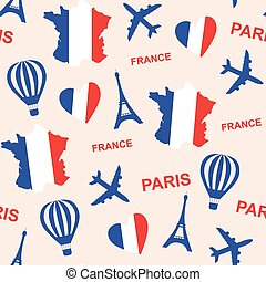 Seamless pattern background with France with map and flag