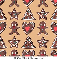 Seamless pattern background with gingerbread shapes