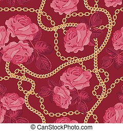 Seamless pattern background with golden chains and pink roses. On purple pink . Vector illustration
