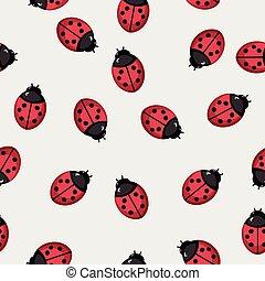 Seamless pattern background with ladybugs