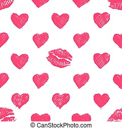 seamless pattern background with lipsticks prints and doodle...