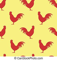 Seamless pattern background with roosters symbol silhouette vector