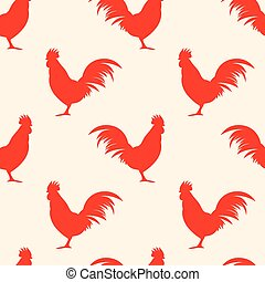 Seamless pattern background with roosters symbol vector