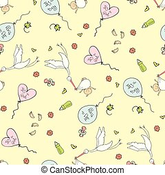 Seamless pattern background with storks carrying newborn babies