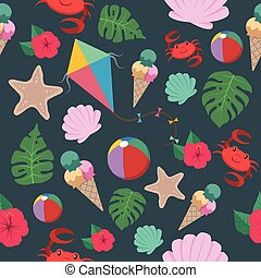 Seamless pattern background with summer elements