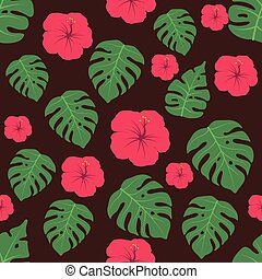 Seamless pattern background with tropical flowers