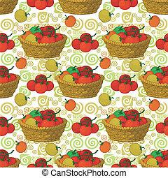 Seamless pattern, baskets and tomatoes