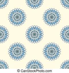 seamless pattern, beautiful blue mandala