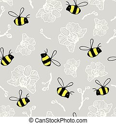 seamless pattern beautiful bumblebees and orchids on the gray background