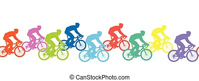 Seamless pattern. Bicyclists silhouettes, competition.