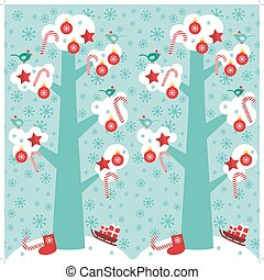seamless pattern Big tree with white snow on the branches, birds and red christmas decorations. Candy, balls, stars, sock, sleigh with gifts on sky-blue sky background. Vector