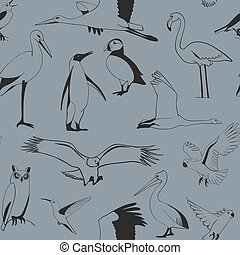 Seamless pattern birds hand drawn, vector