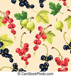 Seamless pattern black and red currant berries