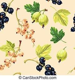Seamless pattern black and white currant berries on biege...
