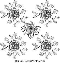 black and white flower background