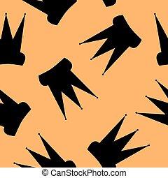 Seamless pattern. Black crown on an orange background.