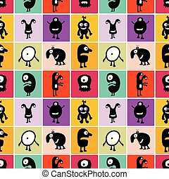Seamless pattern black monsters with emotions