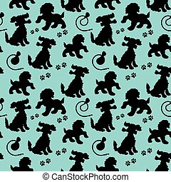 Seamless pattern, black silhouette of dog and leash and trail, on light blue background,