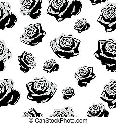 Seamless pattern black white flowers roses