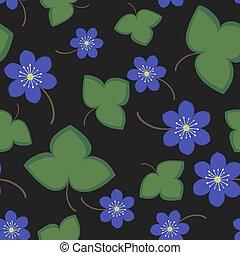 Seamless pattern blue anemone