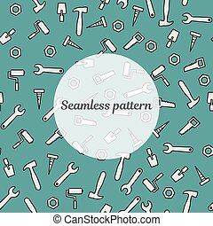 Seamless pattern blue color with tools for repair. Vector illustration. Roller, brush, paint, pencil, tool, hammer, tape measure, putty knife, pencil.