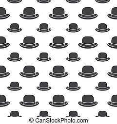 seamless pattern bowler hat