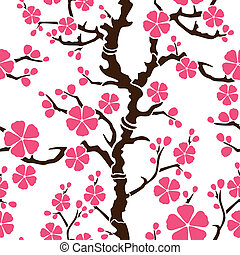 Seamless pattern with flowering branch of sakura, vector illustration
