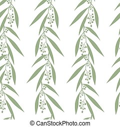Seamless pattern branches of eucalyptus. Vector...