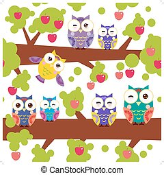 seamless pattern bright colorful owls on the branch of a tree with red apples on white background. Vector