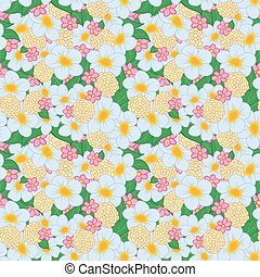 Seamless Pattern Bright Flowers