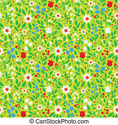 seamless pattern bright spring flowers