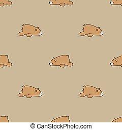 Seamless pattern brown bear sleeping on brown background, vector illustration