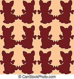 Seamless pattern, Brown dog holds in the mouth a bone, silhouette on a pink background,