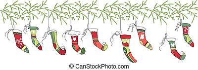 Seamless pattern brush with Christmas Santa socks on white....